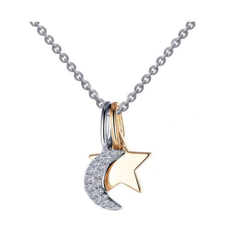 Lafonn Two-Tone Moon and Star Shadow Charm Pendant Set. P0220CLT