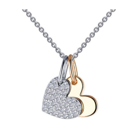 Lafonn Two-Tone Heart Shadow Charm Pendant Set. P0215CLT
