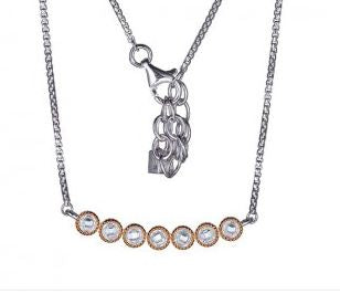 ELLE Essence Collection Sterling Silver and CZ Necklace N10013RWZ17