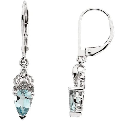 Lady's White 14 Karat Genuine Aquamarine & Diamond Leverback Earrings
