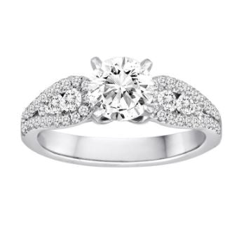Diadori White 18 Karat Channel & Shared Prong Set Engagement Ring Size 6.5 With 52-0.52 Round Diamonds.