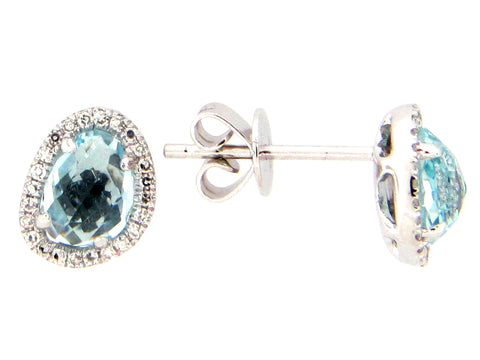 Dilamani Rose Cut Bean Blue Topaz & Diamond Halo Stud Earrings AE81610BT-800W