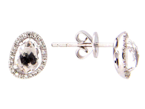 Dilamani Rose Cut Bean White Topaz & Diamond Halo Stud Earring AE81610WT-800W