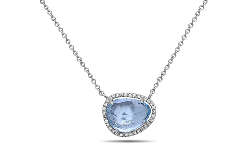 Dilamani Rose Cut Bean Blue Topaz & Diamond Halo Pendant AP81620BT-800W