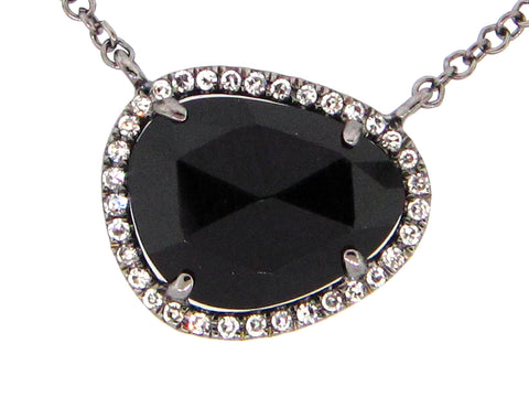 Dilamani Rose Cut Bean Black Onyx & Diamond Halo Pendant AP81620ON-810B