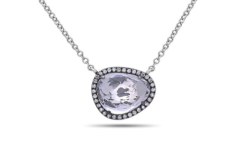 Dilamani Rose Cut Bean White Topaz & Diamond Halo Pendant 14K White Gold AP81620WT-810C