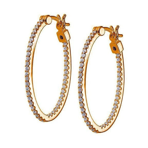 ELLE STERLING SILVER ROSE GOLD PLATED HOOPS