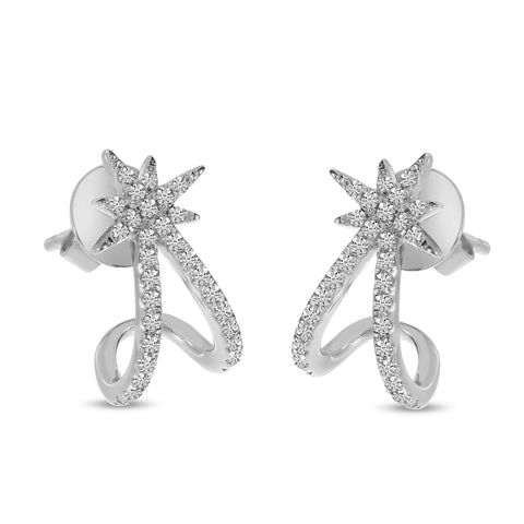 14K White Gold Diamond Starburst huggie Earrings