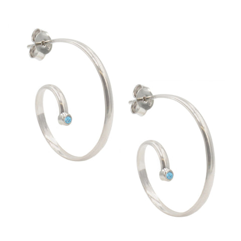 Frederic Duclos Sterling Silver and Blue Topaz Swirly Earrings