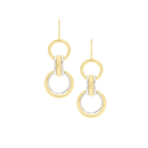 Sterling Silver Yellow Gold Plated Multi Ring Earrings