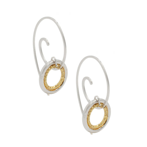 Frederic Duclos Sterling Silver Yellow Gold Plated Hannah Earrings
