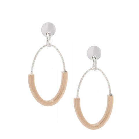 Frederic Duclos Sterling Silver and Rose Gold Plated Samantha Earrings