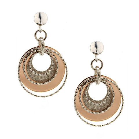 Frederic Duclos Sterling Silver and Rose Gold Plated Luminescent Circle Earrings