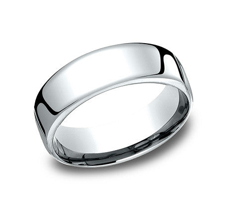 Benchmark 14k White Gold Comfort Fit Wedding Band With Flat Top And Rounded Sides