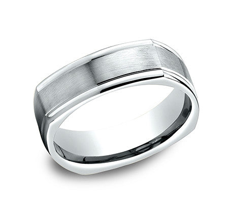 Benchmark 14k White Gold Square Comfort Fit Wedding Band With Satin Finish Center And High Polish Sides