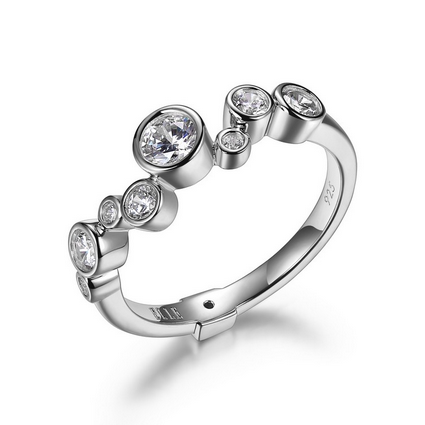 Elle Bubble Collection Sterling Silver Ring R10009WZ6