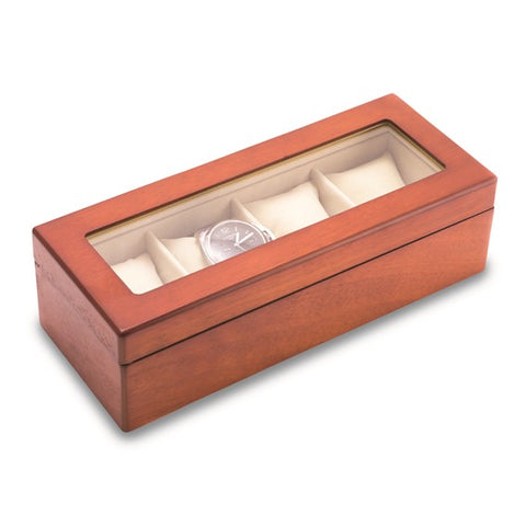 Cherry Wood 4 Watch Box with Glass Top and Velour Lining and Pillows