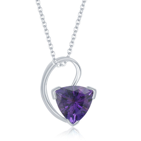 Sterling Silver 1.42 ct. Amethyst Trillion Pendant