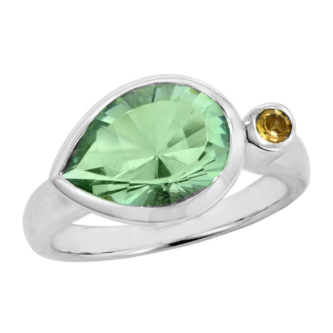 Silver Green Amethyst Ring