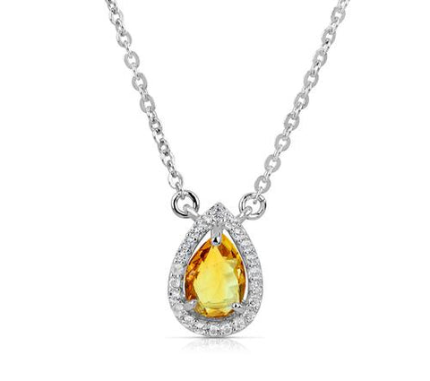 Silver Golden Citrine Necklace