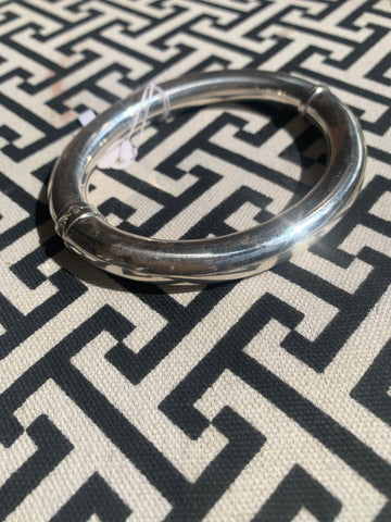 Gingham and Glam Sterling Silver Bangle Bracelet