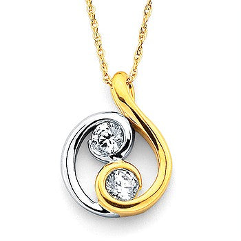 Ostbye Two Stone Pendant In 14K Two Tone Gold K7034