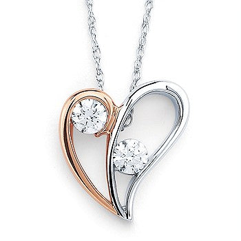 Ostbye 14 Karat White & Rose Gold  Heart Pendant With 2=0.10Tw Round Diamonds