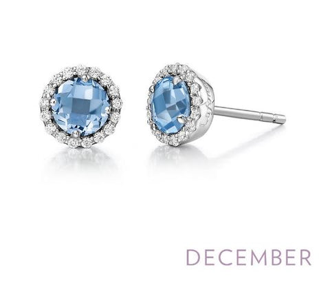 Lafonn Sterling Silver And Platinum December Birthstone Halo Stud Earrings