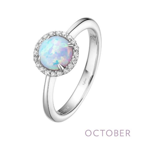Lafonn Sterling Silver And Platinum October Birthstone Halo Ring