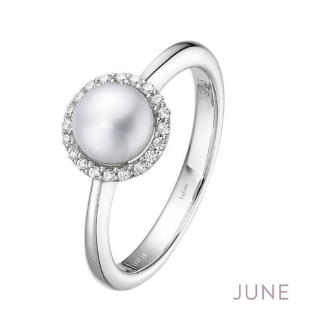 Lafonn Sterling Silver And Platinum June Birthstone Halo Ring