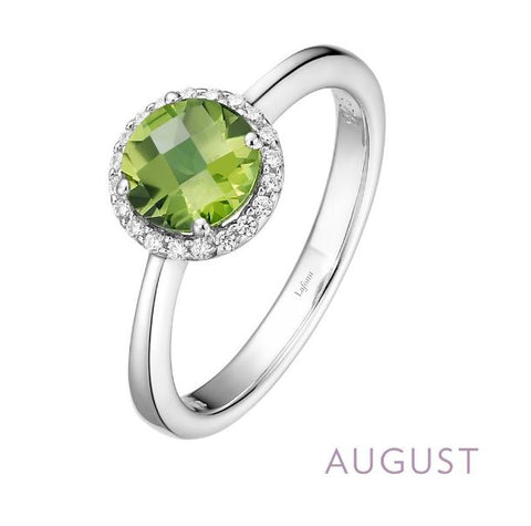Lafonn Sterling Silver And Platinum August Birthstone Halo Ring