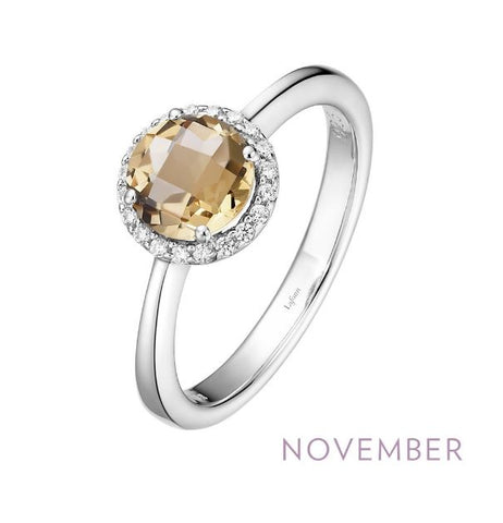 Lafonn Sterling Silver And Platinum November Birthstone Halo Ring