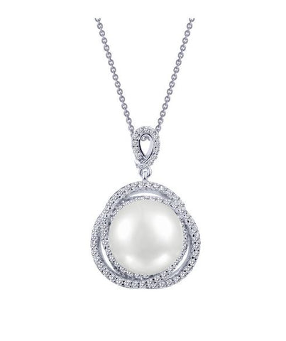 Lafonn Sterling Silver And Platinum Simulated Diamond & Fresh Water Pearl Pendant