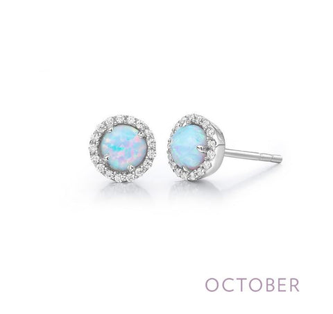 Lafonn Lady's Sterling Silver And Platinum October Birthstone Halo Stud Earrings
