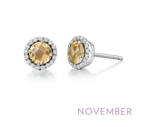 Lafonn Sterling Silver And Platinum November Birthstone Halo Stud Earrings
