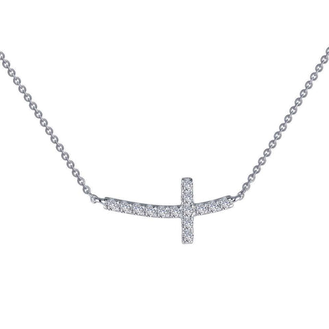 Lafonn Sterling Silver bonded with Platinum Adjustable Cross Necklace