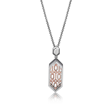 ELLE Lattice Collection Sterling Silver & Rose Gold Plated Necklace