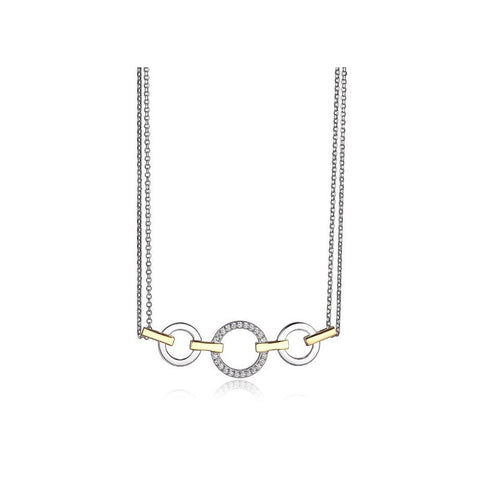 ELLE Sterling Silver Two Tone Necklace N0899