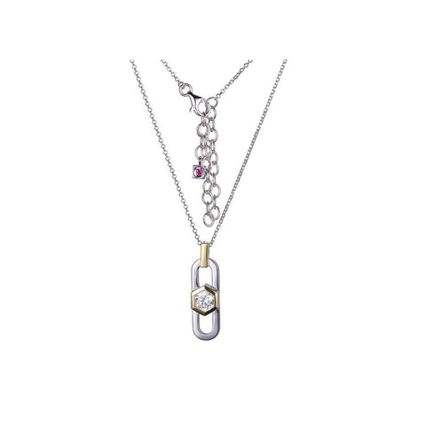 ELLE Two Tone Sterling Silver Necklace N0913