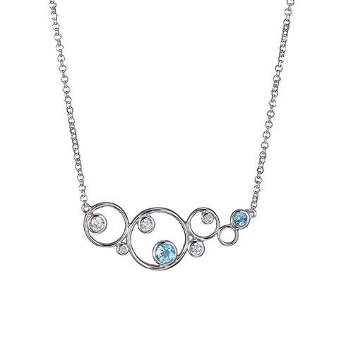 ELLE Sterling Silver Blue Topaz Bubble Necklace n10070wbt17