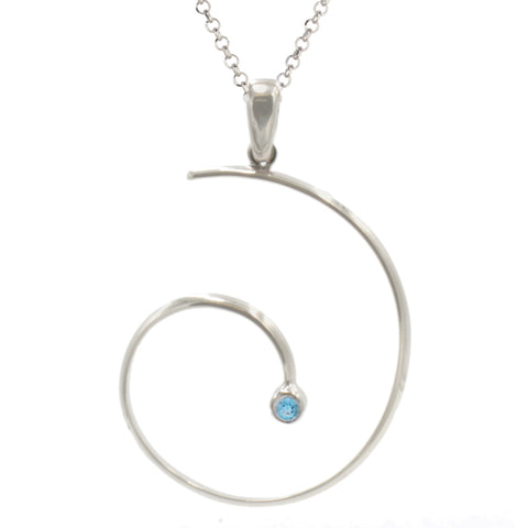 Frederic Duclos Sterling Silver and Blue Topaz Swirly Necklace