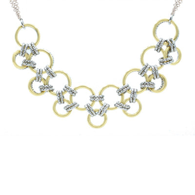 Sterling Silver and Yellow Gold plated Reversible Ring Sequence Necklace
