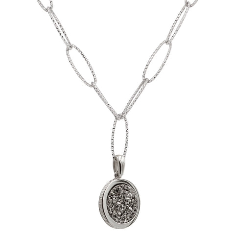 Sterling Silver Lightning Drusy Majestic Necklace