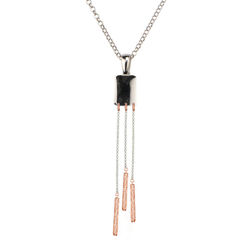 Frederic Duclos Sterling Silver and Rose Gold Drop Tassel Pendant