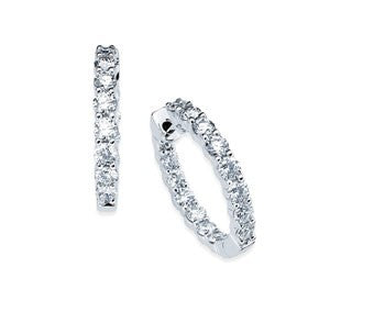 Ostbye 14k White Gold 5/8 Ctw. Inside Out Diamond Hoop Earrings