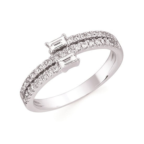 Ostbye 14 Karat White Gold Fashion Ring With 39=0.40Tw Round & Baguette Diamonds