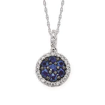 Ostbye Sapphire And Diamond Halo Circle Pendant In 14K Gold