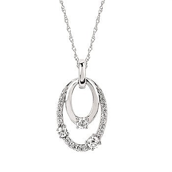Ostbye 14 Karat White Gold Pendant With 21=0.30Tw Round Diamonds