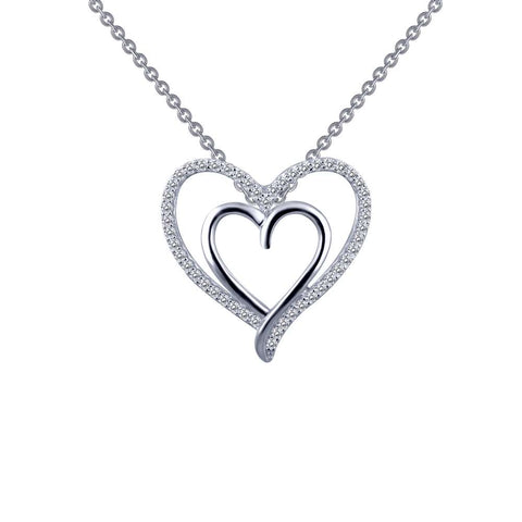 Lafonn Heart shaped Classic Simulated Diamond Platinum Bonded Necklace