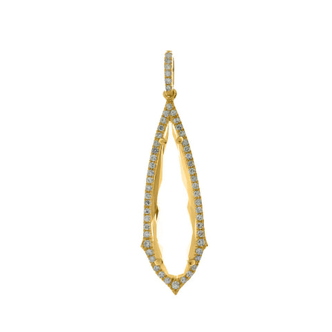 14K Yellow Gold Fancy White Topaz Diamond Dangle Pendant